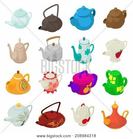 Teapot sport icons set. Isometric illustration of 16 teapot vector icons for web