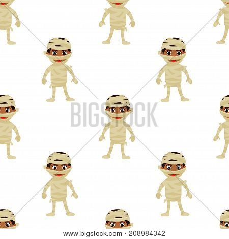 Abstract Seamless Pattern For Girls Or Boys. Creative Vector Background With Egyptian Mummy, Hallowe