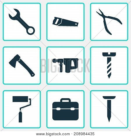 Repair Icons Set. Collection Of Axe, Bolt, Spanner And Other Elements