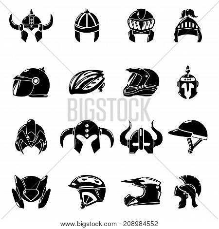 Helmet icons set. Simple illustration of 16 helmet vector icons for web