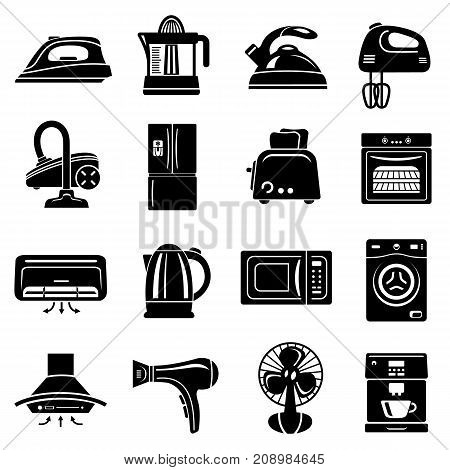 House appliance icons set. Simple illustration of 16 house appliance vector icons for web