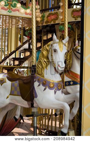 City Colorful Traditional French Carousel For Children, Horse For Riding