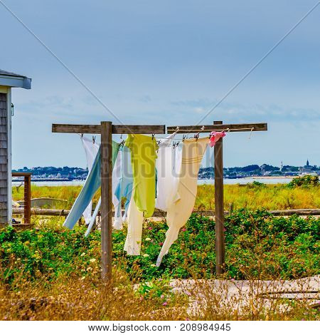 Clothes dry on the street in Provincetown Cape Code Massachusetts