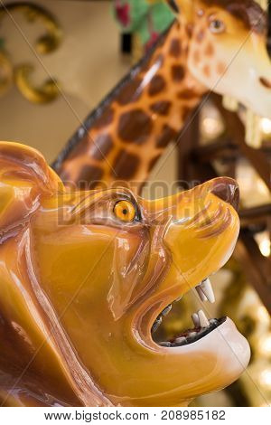 City Colorful Traditional French Carousel For Children, Animals For Riding