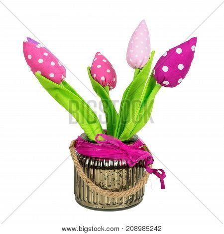 Fabric flowers in a pot isolated on white background with clipping path