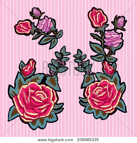 Embroidery trend floral patches with red and pink roses. Vector embroidered flowers set for fashion design.