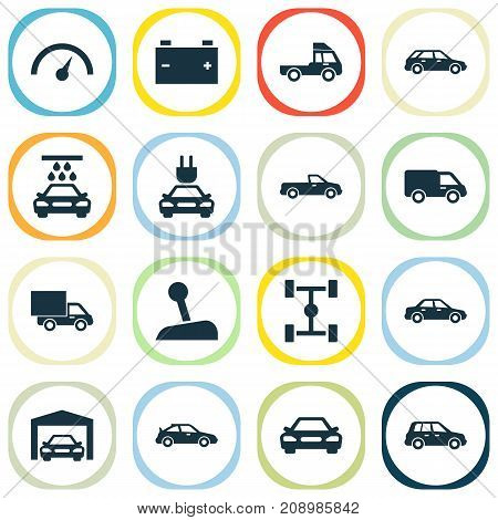 Automobile Icons Set. Collection Of Lorry, Crossover, Van And Other Elements