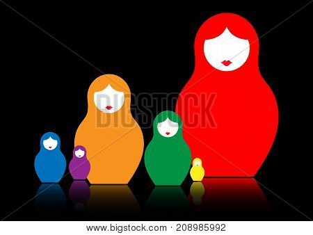 Russian nesting doll matrioshka, set colorful icon symbol of Russia, vector isolated or black background