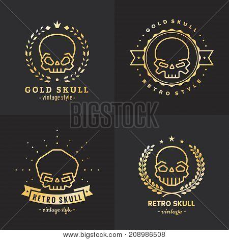 Skulls outline gold logo vector set. Vintage design.