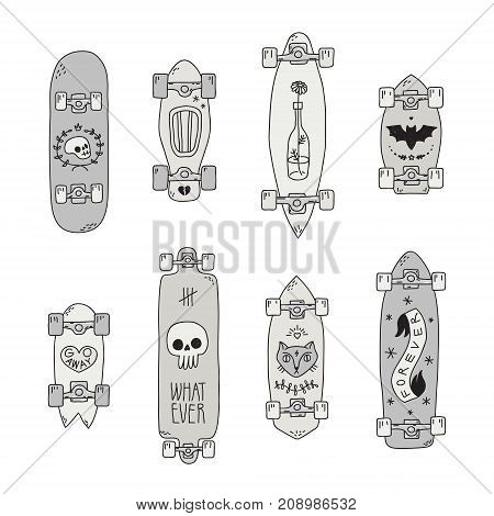Skateboards and longboards black and gray scary cartoon style vector set.