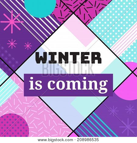 Winter holidays geometric greeting card in trendy memphis 90s style with triangles, lines, frames, party background or invitation template, banner, cover, vector illustration
