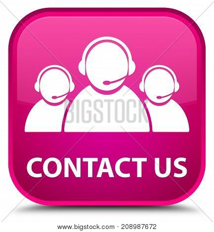 Contact Us (customer Care Team Icon) Special Pink Square Button
