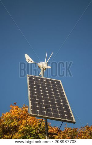 Small Solar panel and rotor Renewable energy