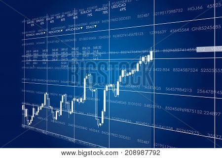 Vector business theme illustration. Background with graphs and figures. A digital panel with a distorted perspective.