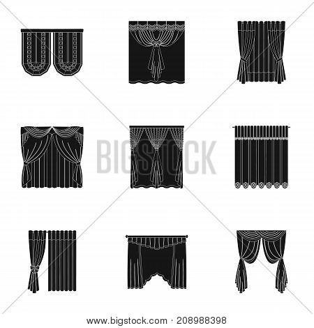 Textiles, curtains, drapes, and other  icon in black style. Car, hand, furniture icons in set collection