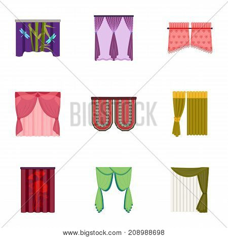 Textiles, curtains, drapes, and other  icon in cartoon style. Car, hand, furniture icons in set collection