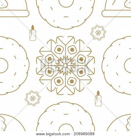 Seamless pattern which includes such Christmas design elements like candle, cookie, snowflake.