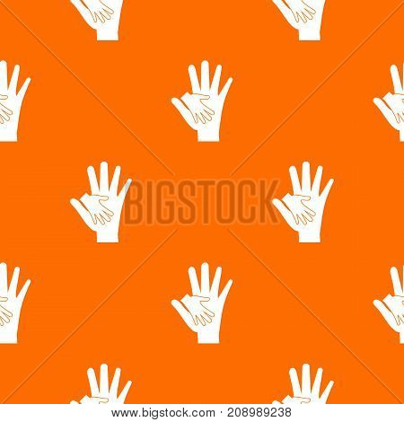 Baby and mother hand pattern repeat seamless in orange color for any design. Vector geometric illustration