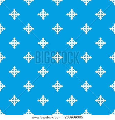 Arrows target pattern repeat seamless in blue color for any design. Vector geometric illustration