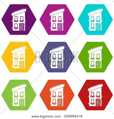 Two-storey house icon set many color hexahedron isolated on white vector illustration