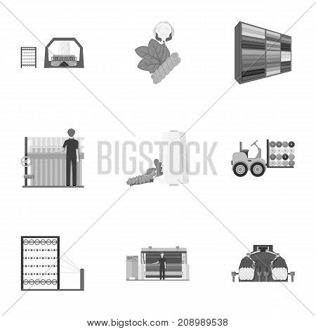Machine, equipment, lift and other  icon in monochrome style. Inventory, textiles, industry icons in set collection.