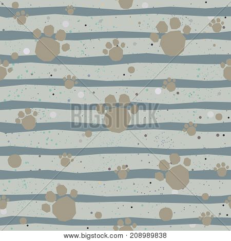 Cute seamless pattern with hand drawn and paws