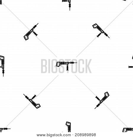 Electric drill, perforator pattern repeat seamless in black color for any design. Vector geometric illustration