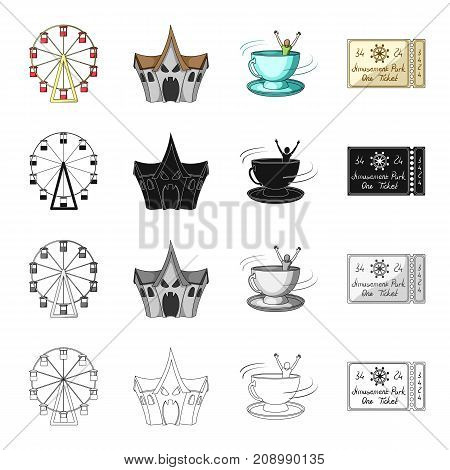 The Ferris wheel, a ticket for entertainment, a room of fear, an attraction of a spinning cup. Amusement park set collection icons in cartoon black monochrome outline style vector symbol stock isometric illustration .