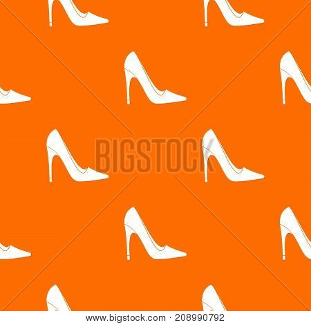High heel shoe pattern repeat seamless in orange color for any design. Vector geometric illustration