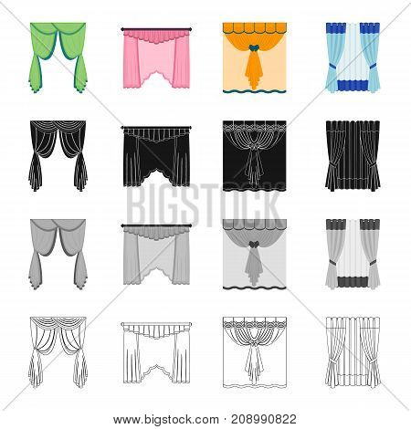 Louvers, curtains, light, and other  icon in cartoon style.Folds, textiles, blind icons in set collection
