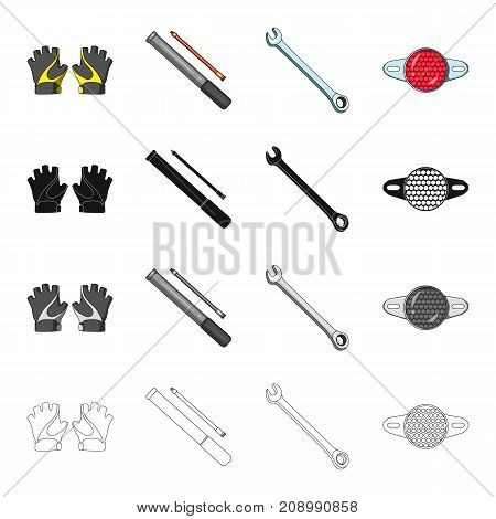 Outfit protective gloves, bicycle pump, wrench, light reflector. Bicycle equipment set collection icons in cartoon black monochrome outline style vector symbol stock isometric illustration .