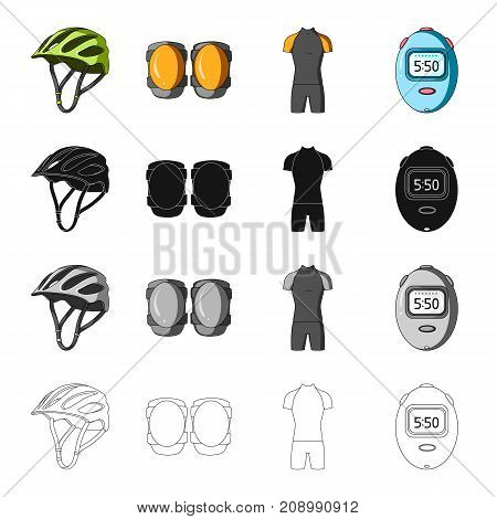 Protective helmet of a bicyclist, knee pads, outfit overalls, timer. Cyclist outfit set collection icons in cartoon black monochrome outline style vector symbol stock isometric illustration .