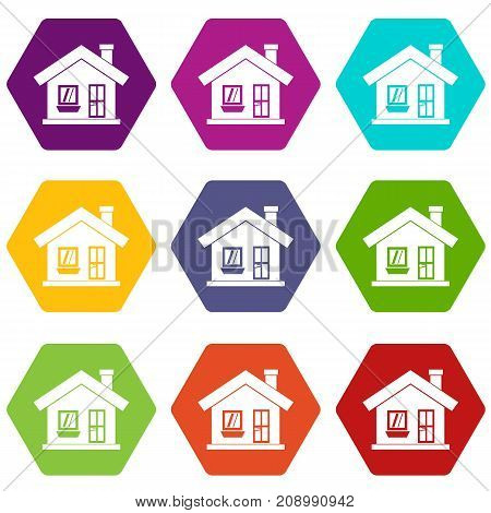 One-storey house with a chimney icon set many color hexahedron isolated on white vector illustration