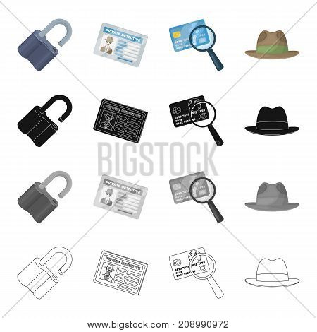 A broken lock, a detective's identification, a magnifying glass and a credit card, a hat. Detective Agent set collection icons in cartoon black monochrome outline style vector symbol stock isometric illustration .