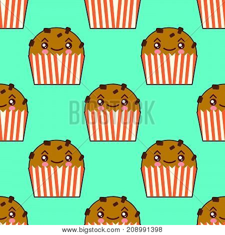 Cute cupcake seamless pattern with kawaii faces. Smiley cup cakes . Flat design Vector Illustration eps