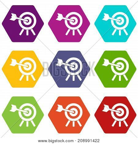 Arrow hit the target icon set many color hexahedron isolated on white vector illustration