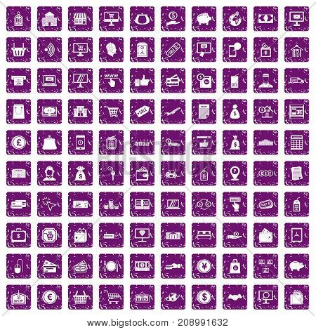 100 payment icons set in grunge style purple color isolated on white background vector illustration