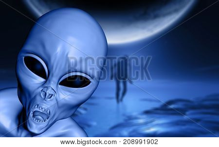 3D render of a Halloween landscape with evil alien