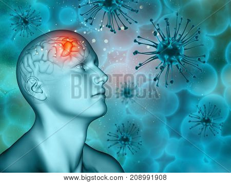 3D render of a medical mental health background with virus cells and male figure
