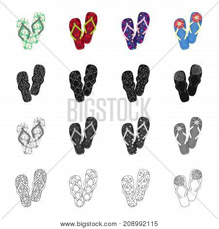 Multi-colored shoes, beach slippers. Different kinds of flip flops set collection icons in cartoon black monochrome outline style vector symbol stock illustration .