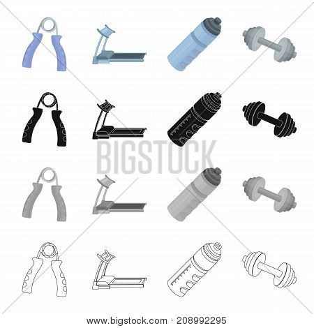Expander, a treadmill in the gym, a container with water, dumbbells for exercise. Training and a gym set collection icons in cartoon black monochrome outline style vector symbol stock isometric illustration .