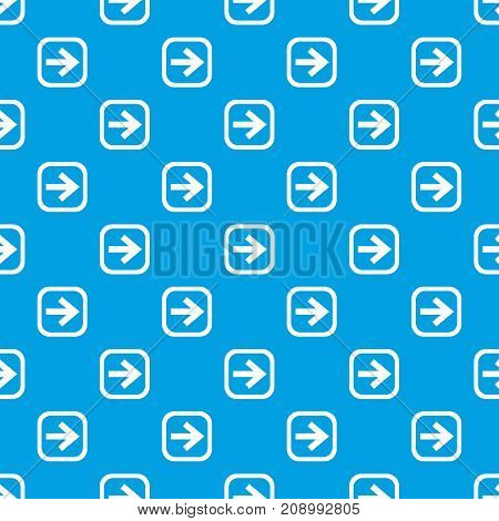 Arrow in square pattern repeat seamless in blue color for any design. Vector geometric illustration