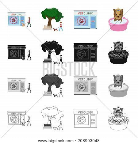 Veterinary clinic, building, and other  icon in cartoon style. Washing, hygiene, hound, icons in set collection