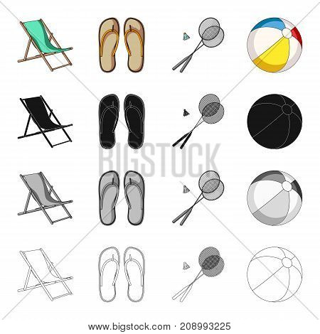 Chaise lounge, beach slippers, rest badminton, inflatable ball. Summer rest set collection icons in cartoon black monochrome outline style vector symbol stock isometric illustration .
