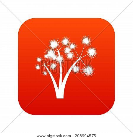 Three spiky palm trees icon digital red for any design isolated on white vector illustration