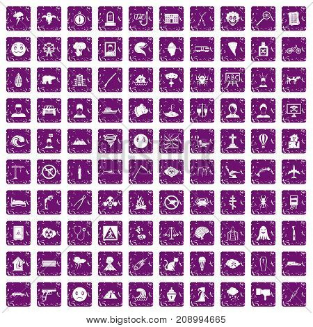 100 phobias icons set in grunge style purple color isolated on white background vector illustration