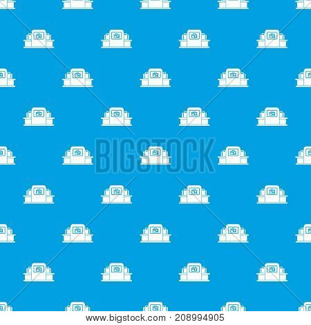 Airport baggage security scanner pattern repeat seamless in blue color for any design. Vector geometric illustration