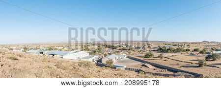 KEETMANSHOOP NAMIBIA - JUNE 13 2017: A panoramic view of the industrial area of Keetmanshoop the capital town of the Karas Region of Namibia