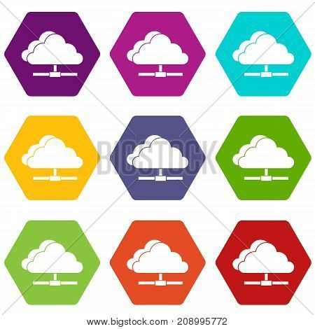 Cloud computing connection icon set many color hexahedron isolated on white vector illustration