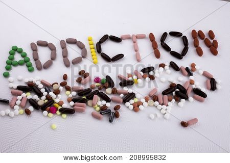 Hand Writing Text Caption Inspiration Medical Care Concept Written With Pills Drugs Capsule Word Dru